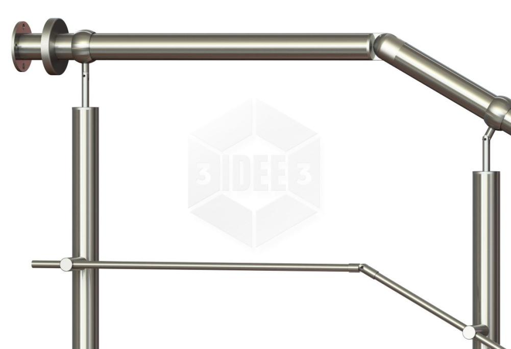 DOMINTY Flexibler Handlauftr/äger Edelstahl Gel/änder Halterung Handlaufhalter Wandhalter Rohrst/ütze f/ür 4,5-6 cm R/öhre Wand Gel/änder Handlauf Treppe Griff